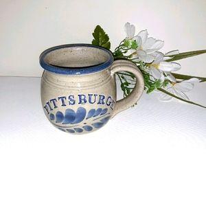 Stone pottery Pittsburgh mug stone gray/blue